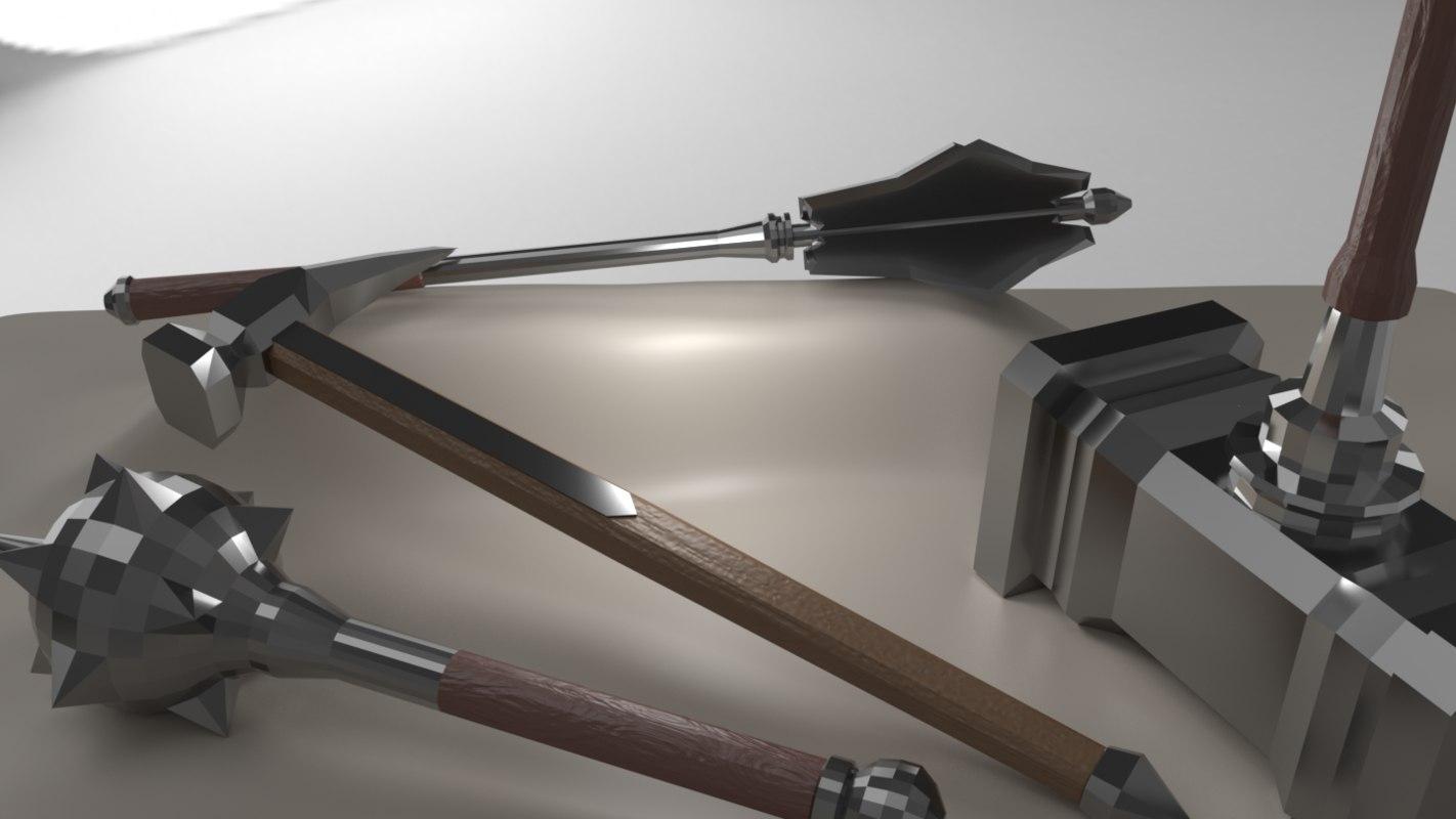 kit 6 maces 3D model