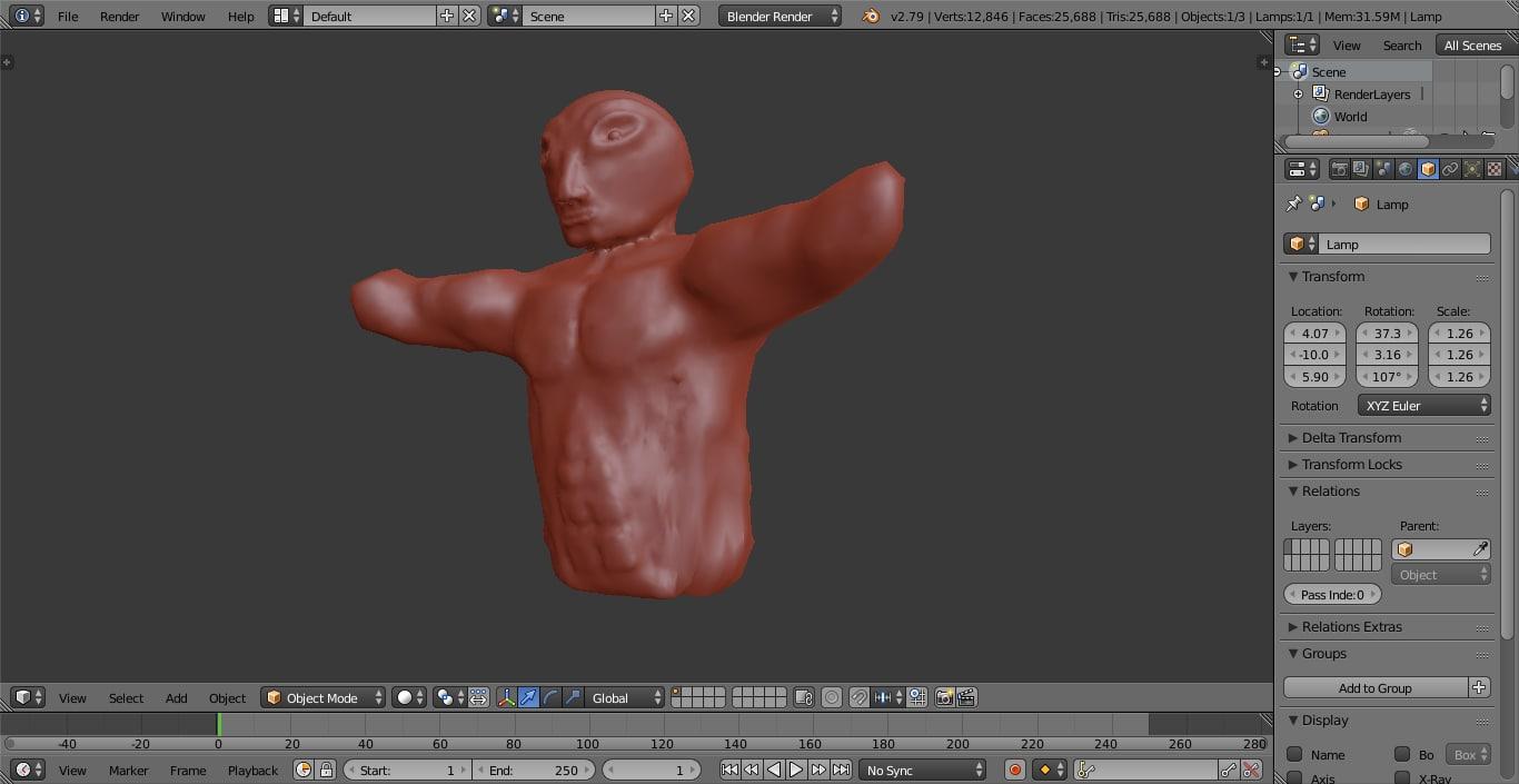 3D model sculpted alien