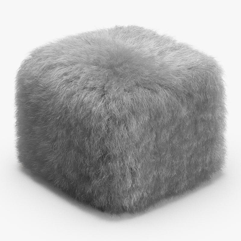 3D wool brescioli pouf model
