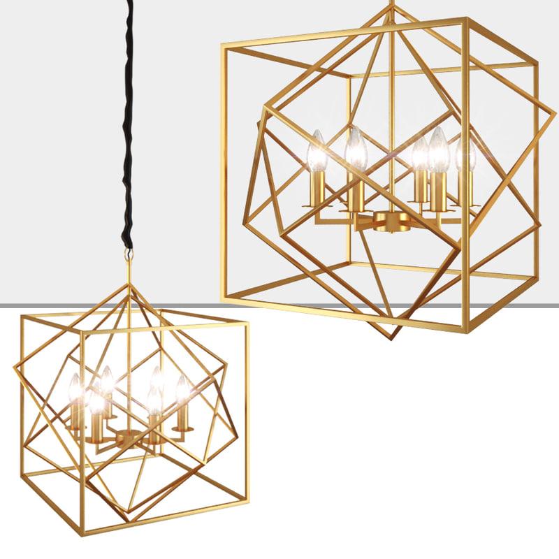 3D cubist chandelier designed model
