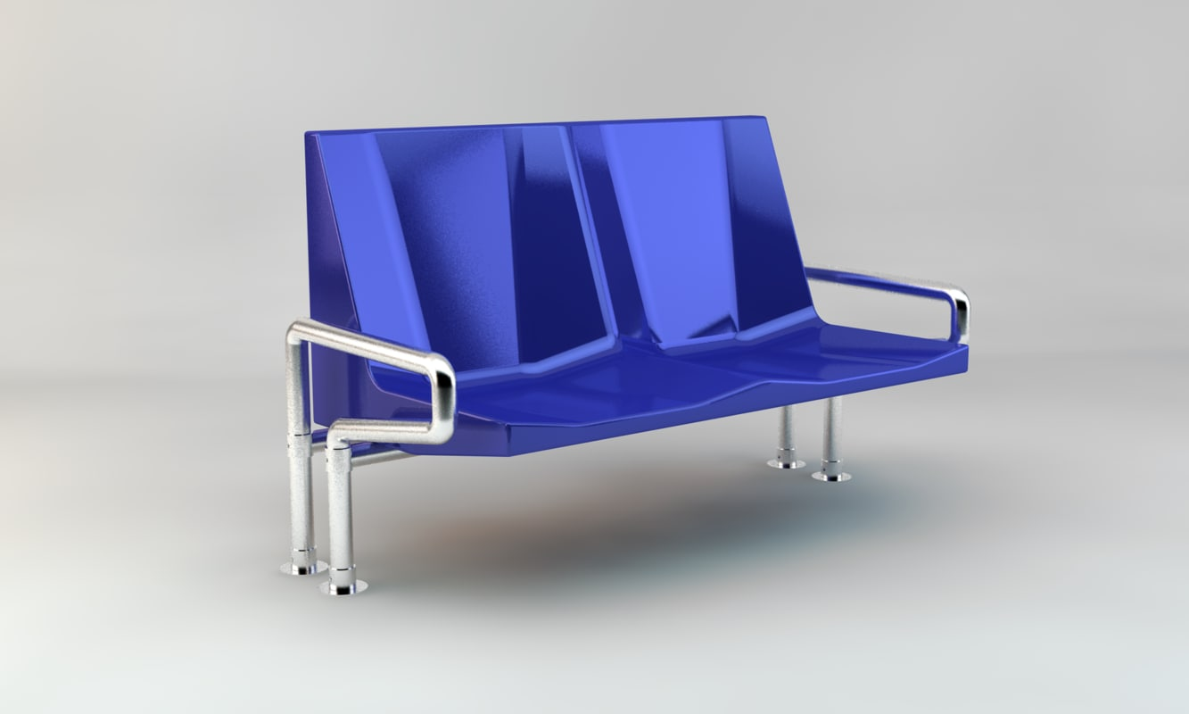 3D model subway public benches