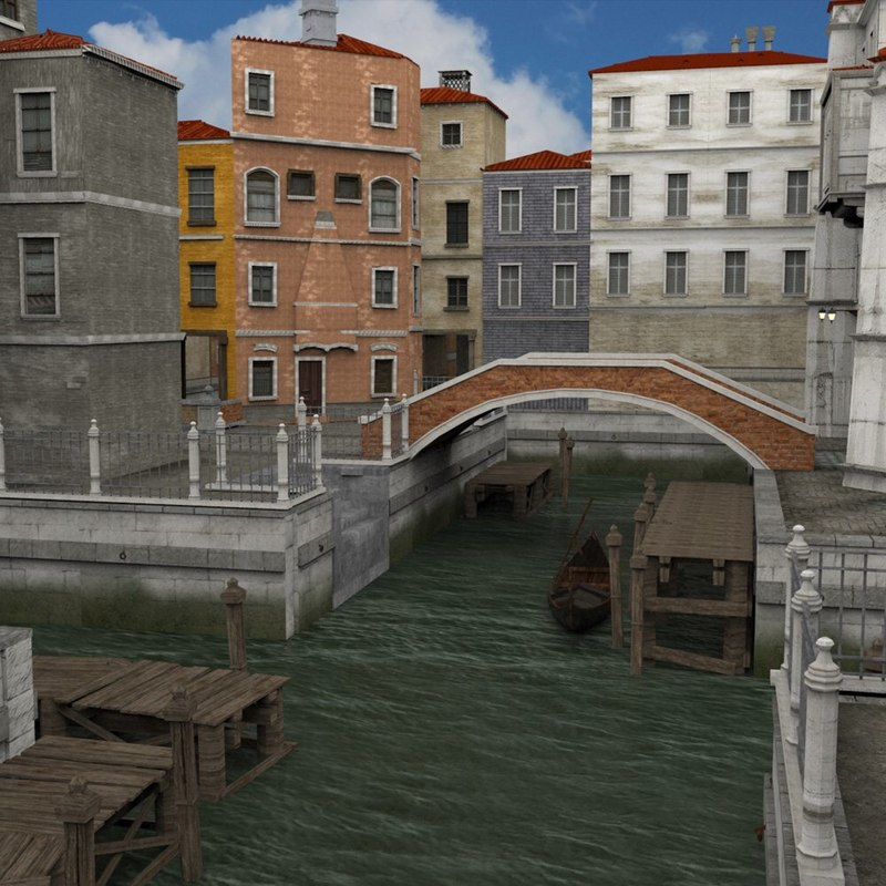 architecture canals town 3D model