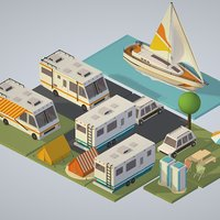 isometric transport holiday BBQ camping