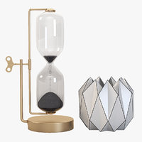 Timeless Brass And Iron Hourglass with Geometric Vases Centerpiece