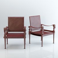 vintage-brown-leather-campaign-chair 3D model