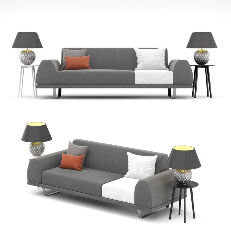 sofa portland 2 5 3D model
