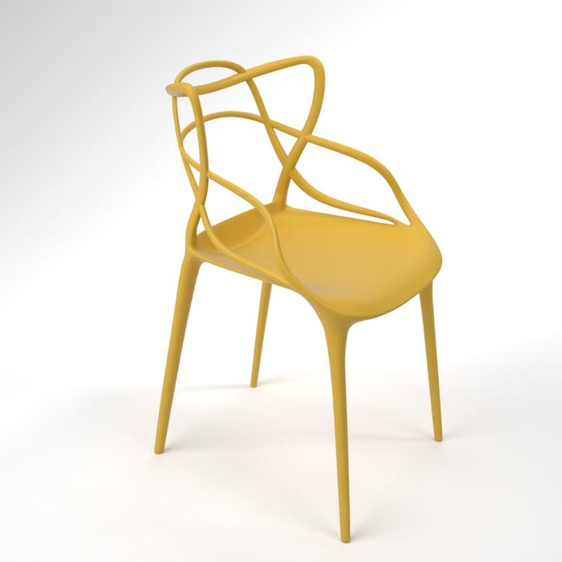 interior kartell masters mustard 3D model