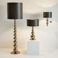 3D floor lamp table wall