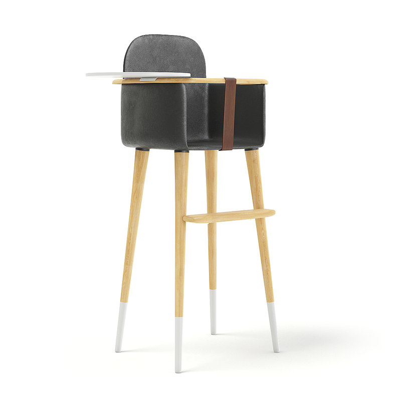 wooden feeding chair black leather 3D model