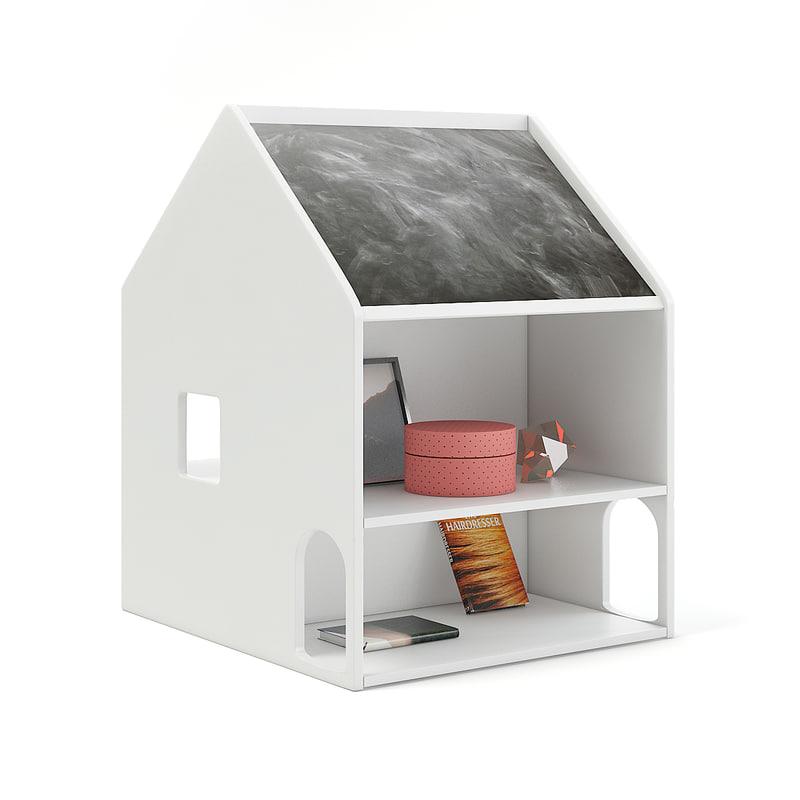3D house shape shelf blackboard