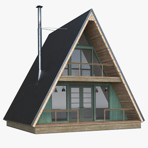 3D forest cabin