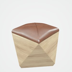 hexagon wood ottoman-chair leather chair 3D model