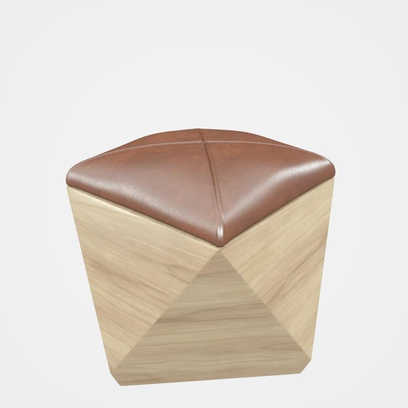 hexagon wood ottoman-chair leather chair 3D model