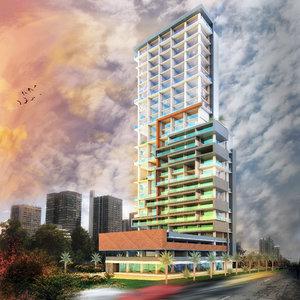 3D scene modern skyscraper building