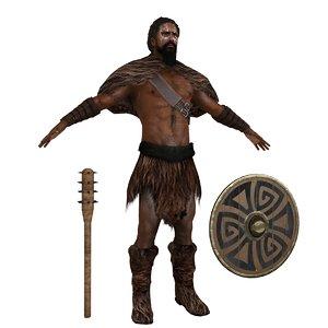 3D barbarian rigging man