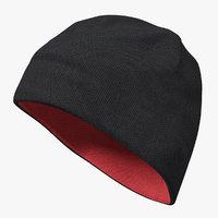 Mens Hat Ribbed Beanie Black