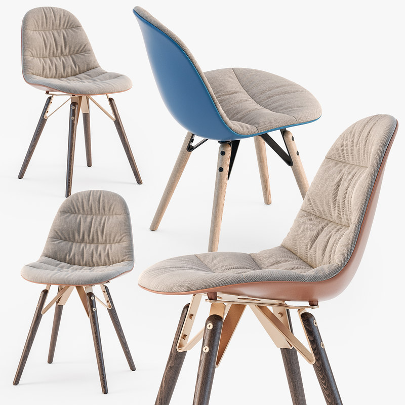3D mood covered chair wood model