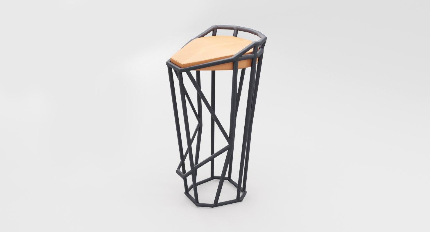 3D model modern minimalistic octa stool