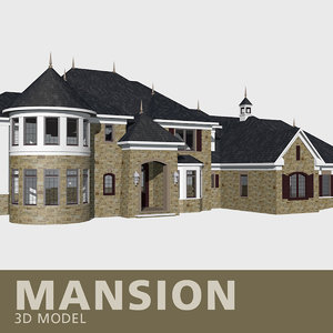 3D mansion stone entrance