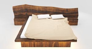 wooden hard massive bed interior 3D