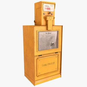3D model newspaper box
