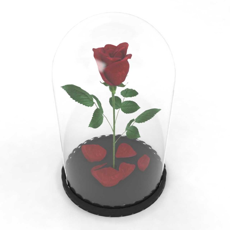 3D model rose flower flask