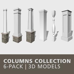 3D columns baluster newel