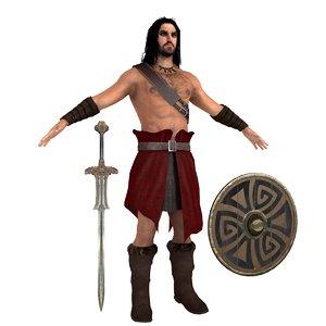 3D barbarian conan man