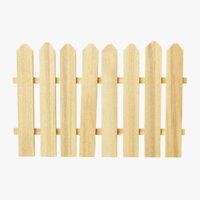 wooden fence segment tiled wood 3D model