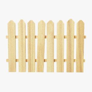 wooden fence segment tiled wood 3D model