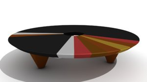 retro wooden ring coffee table 3D