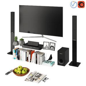 samsung tv modern living 3D model