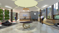 interior design hotel lobby 3D model