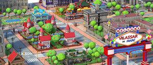 3D car cartoon city model