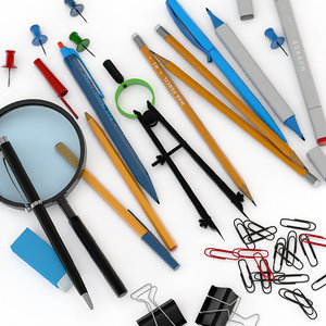 office magnifier pencil 3D model