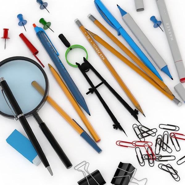 office magnifier pencil 3D model