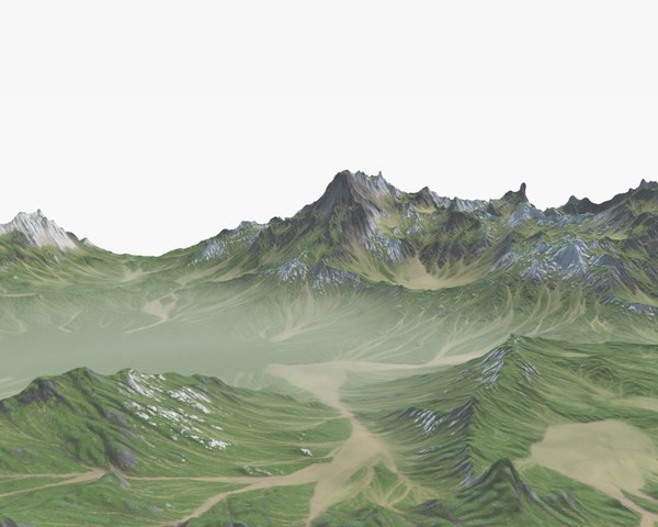 3D grassy mountain model