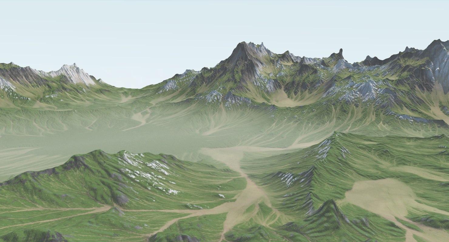 3D grassy mountain model
