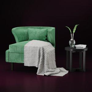 3D model armchair vilidiya coffee table