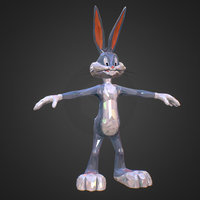 Low Polygon Art Bugs Bunny spring easter rabbit VR / AR / low-poly 3D model