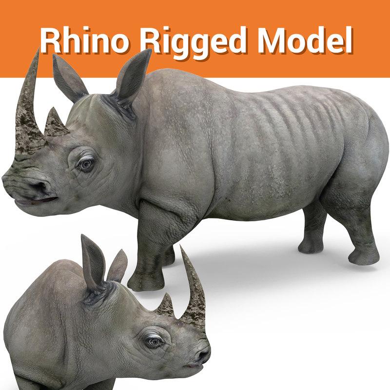 realistic rhino rigged 3D model