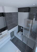 Beautiful bathroom with shiny tiles