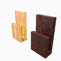 3D modern wood wall lamp model