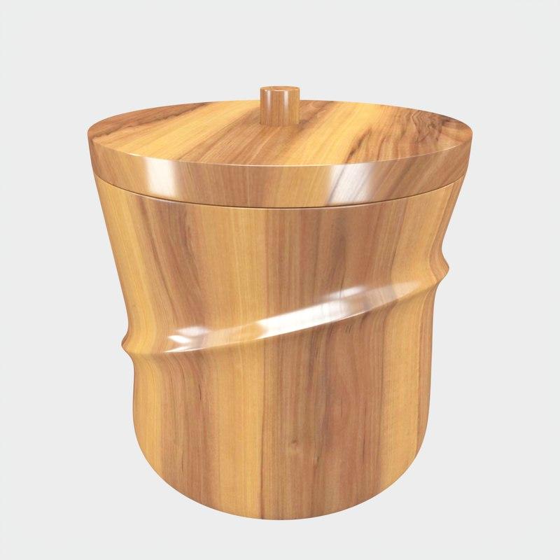 3D model wooden ice bucket
