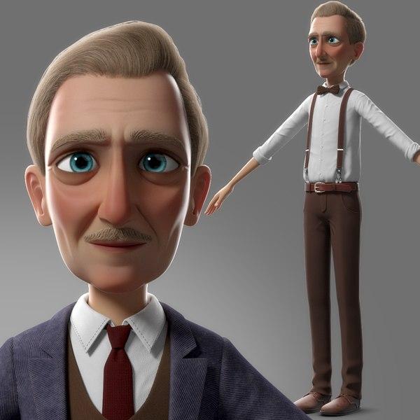 cartoon old man character 3D