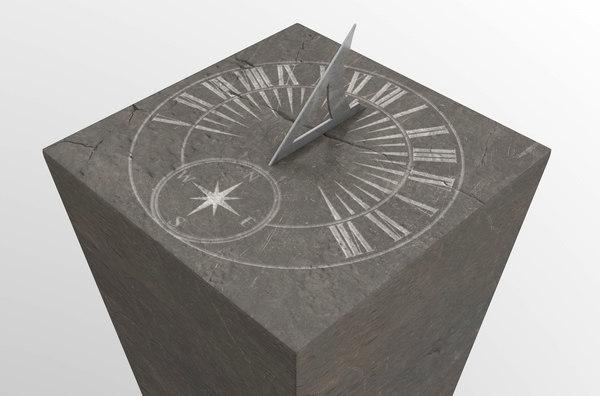 3D antique stone sundial model