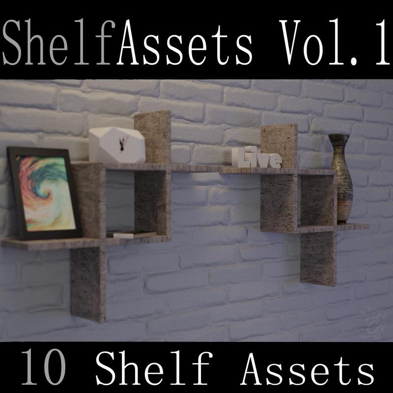 3D 10 shelf assets