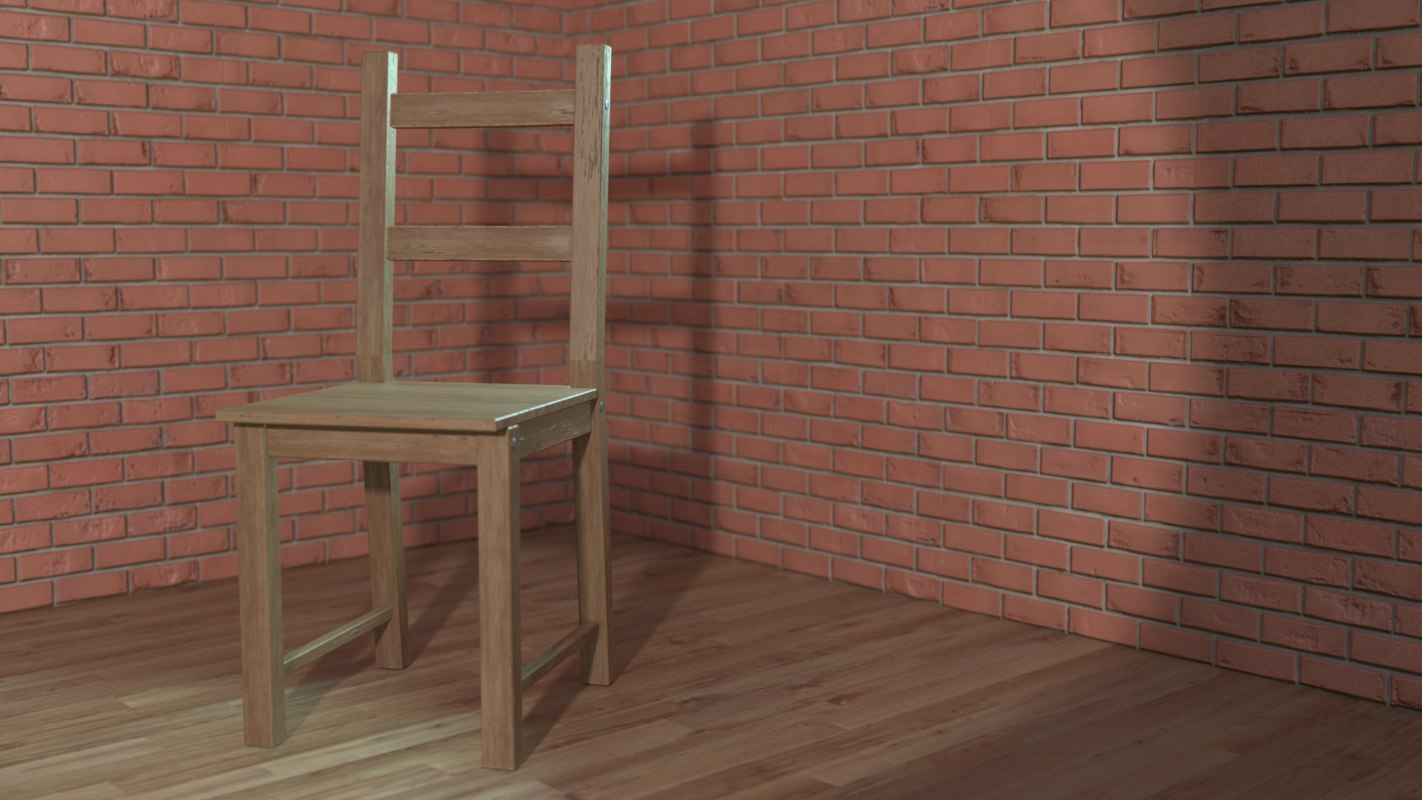 simple wooden chair 3D model
