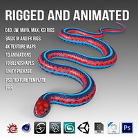 blue red snake 3D