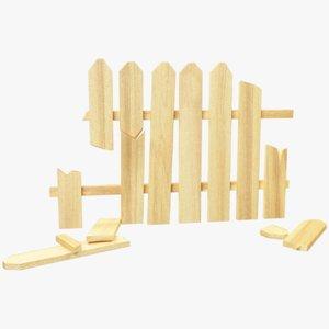 3D model broken wooden fence segment